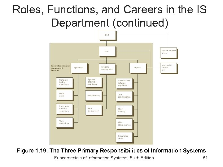 Roles, Functions, and Careers in the IS Department (continued) Figure 1. 19: The Three