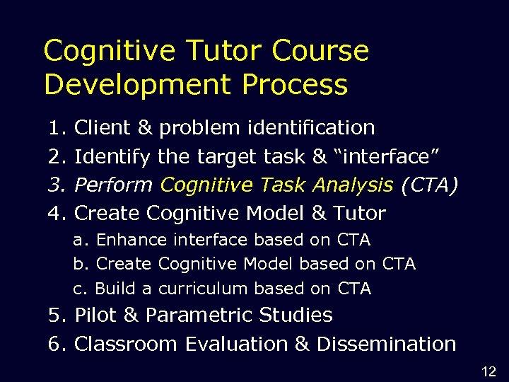 Cognitive Tutor Course Development Process 1. 2. 3. 4. Client & problem identification Identify