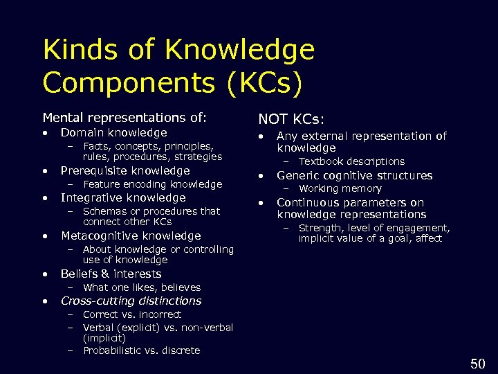 Kinds of Knowledge Components (KCs) Mental representations of: • Domain knowledge – Facts, concepts,