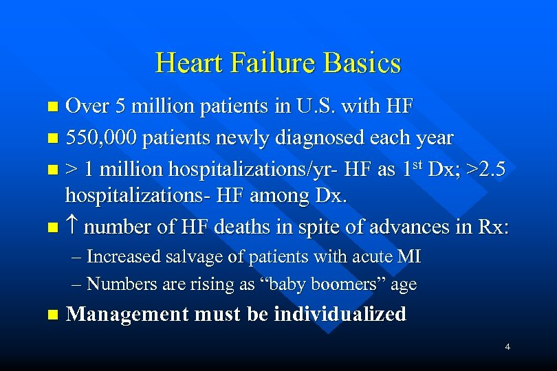 Heart Failure Basics Over 5 million patients in U. S. with HF n 550,
