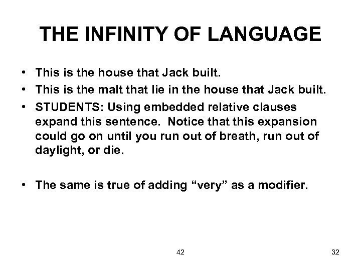 THE INFINITY OF LANGUAGE • This is the house that Jack built. • This