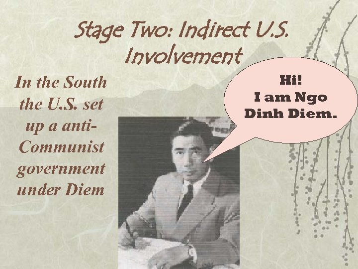Stage Two: Indirect U. S. Involvement In the South the U. S. set up