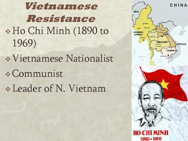 Vietnamese Resistance v Ho Chi Minh (1890 to 1969) v Vietnamese Nationalist v Communist