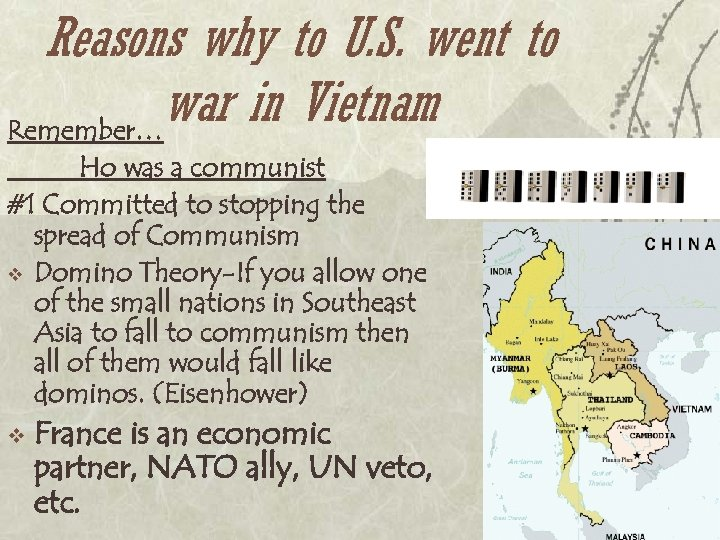 Reasons why to U. S. went to war in Vietnam Remember… Ho was a