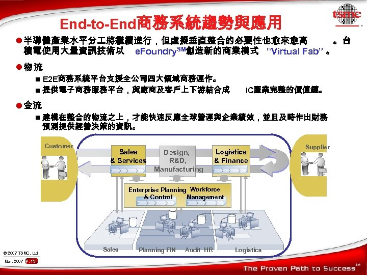 "End-to-End商務系統趨勢與應用 l 半導體產業水平分 將繼續進行,但虛擬垂直整合的必要性也愈來愈高 。台 積電使用大量資訊技術以 e. Foundry. SM創造新的商業模式 ""Virtual Fab"" 。 l物流 E"