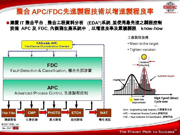 整合 APC/FDC先進製程技術以增進製程良率 l 建置 IT 整合平台 , 整合 程資料分析 (EDA*)系統 , 並使用最先進之製程控制 技術 APC