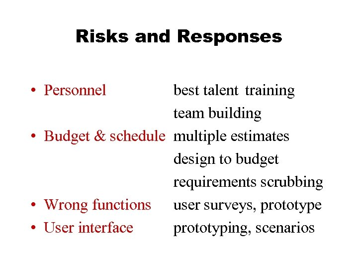 Risks and Responses • Personnel best talent training team building • Budget & schedule