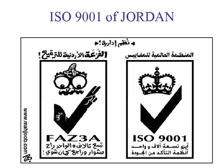 ISO 9001 of JORDAN