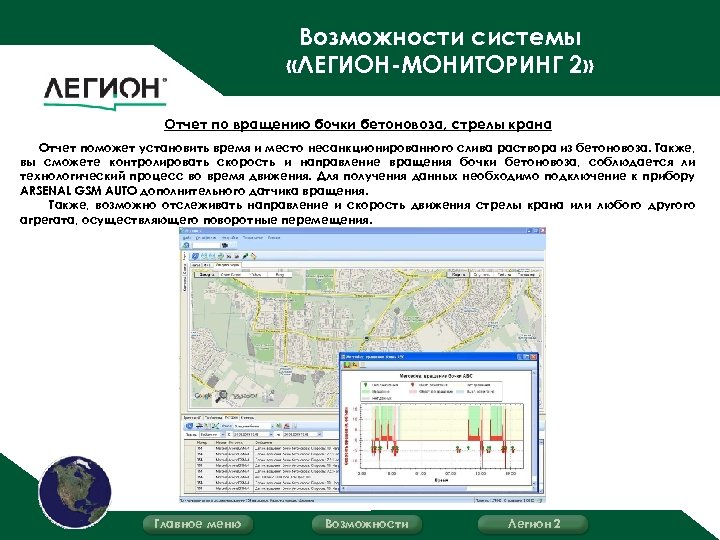 Возможности системы «ЛЕГИОН-МОНИТОРИНГ 2» Отчет по вращению бочки бетоновоза, стрелы крана Отчет поможет установить