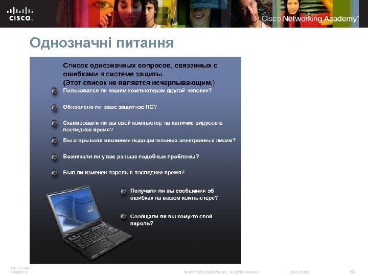 Однозначні питання ITE PC v 4. 0 Chapter 9 © 2007 Cisco Systems, Inc.