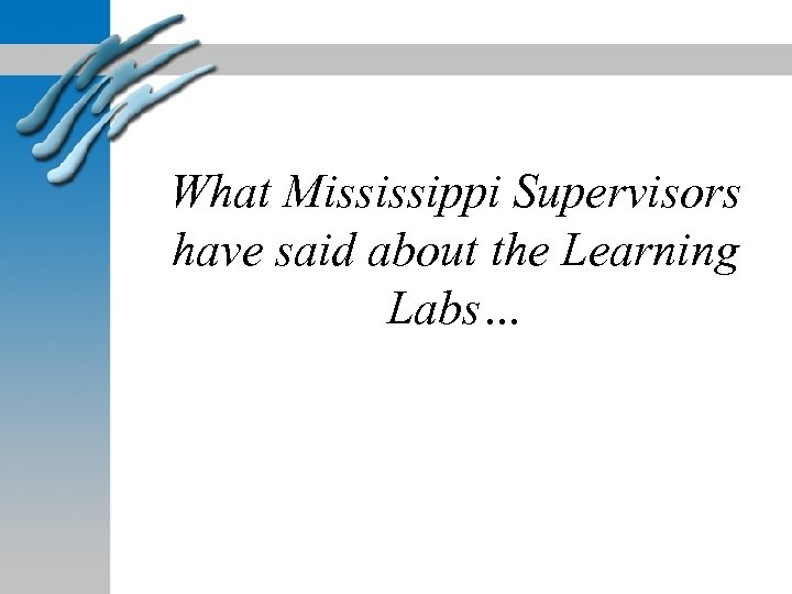 What Mississippi Supervisors have said about the Learning Labs…