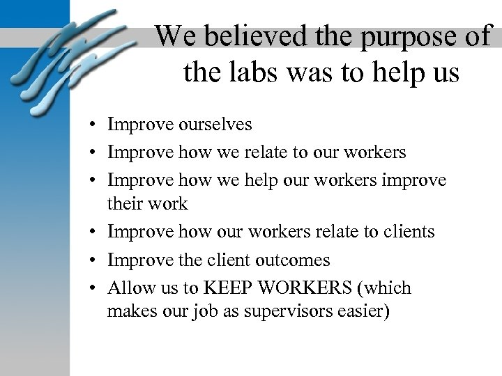 We believed the purpose of the labs was to help us • Improve ourselves