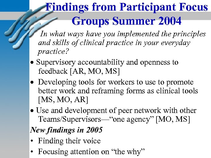Findings from Participant Focus Groups Summer 2004 In what ways have you implemented the