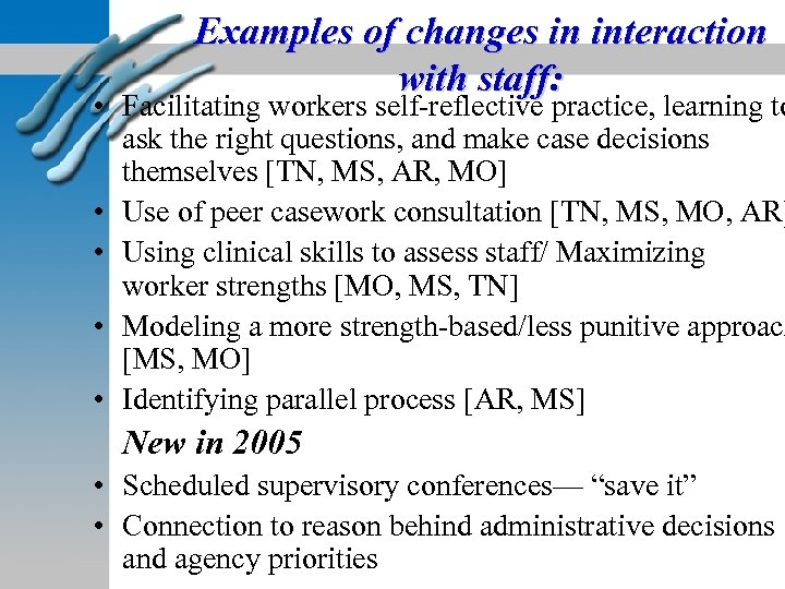 Examples of changes in interaction with staff: • Facilitating workers self-reflective practice, learning to
