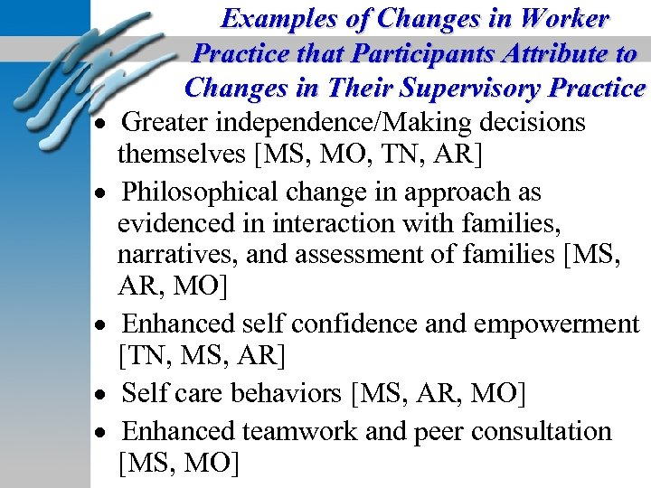 Examples of Changes in Worker Practice that Participants Attribute to Changes in Their Supervisory