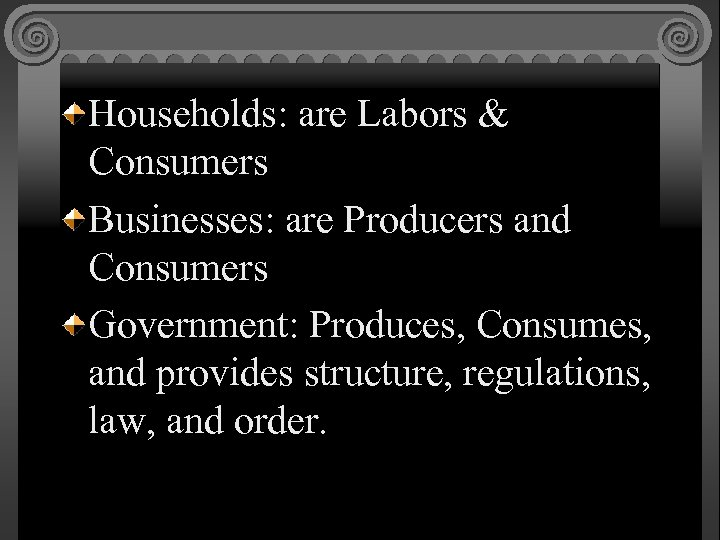 Households: are Labors & Consumers Businesses: are Producers and Consumers Government: Produces, Consumes, and