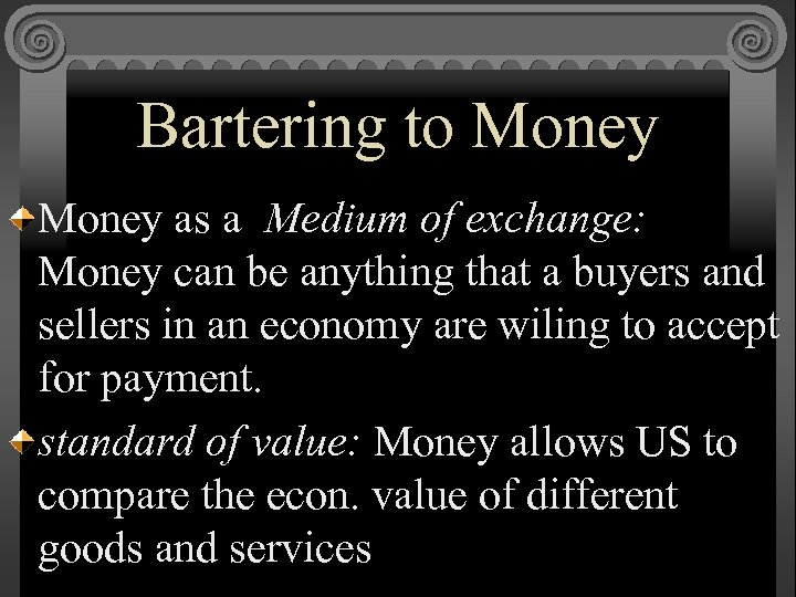 Bartering to Money as a Medium of exchange: Money can be anything that a