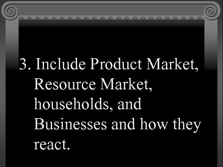 3. Include Product Market, Resource Market, households, and Businesses and how they react.