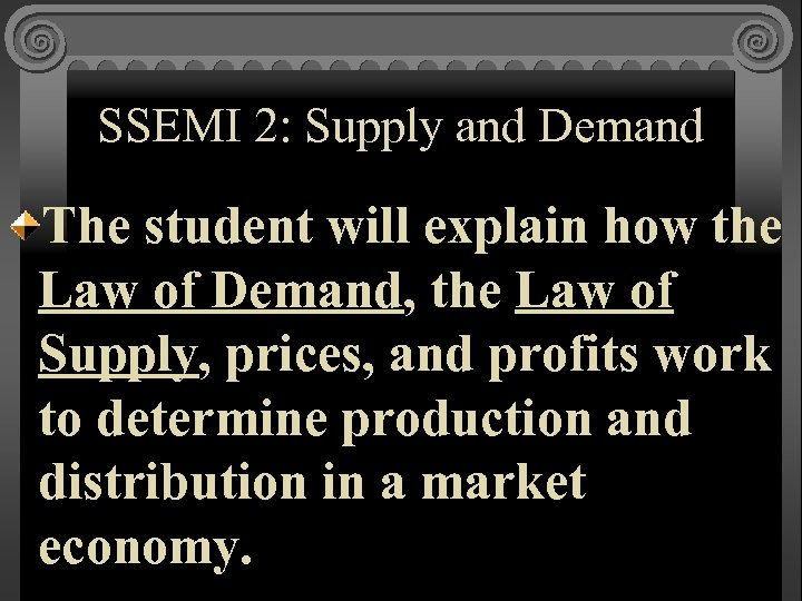 SSEMI 2: Supply and Demand The student will explain how the Law of Demand,