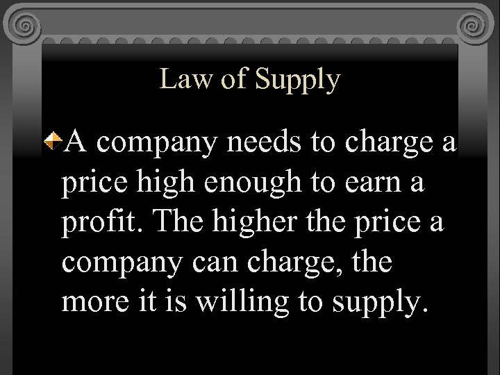 Law of Supply A company needs to charge a price high enough to earn