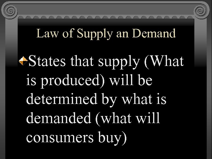 Law of Supply an Demand States that supply (What is produced) will be determined