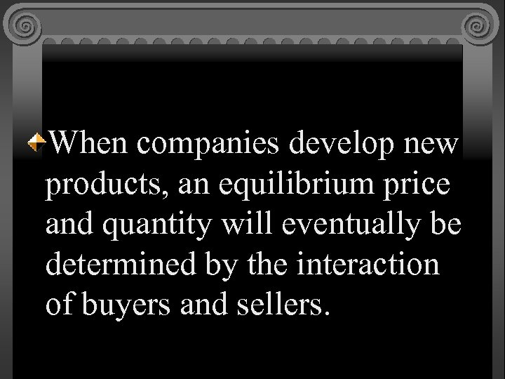 When companies develop new products, an equilibrium price and quantity will eventually be determined