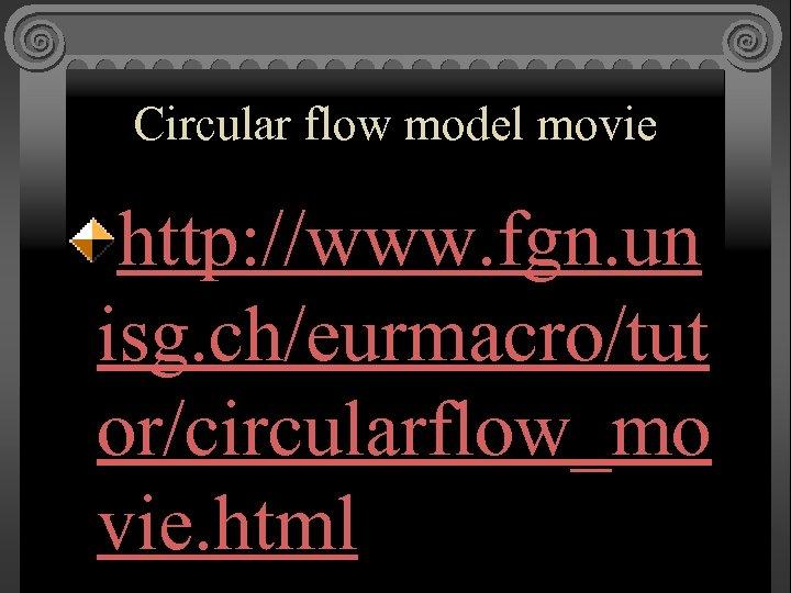 Circular flow model movie http: //www. fgn. un isg. ch/eurmacro/tut or/circularflow_mo vie. html