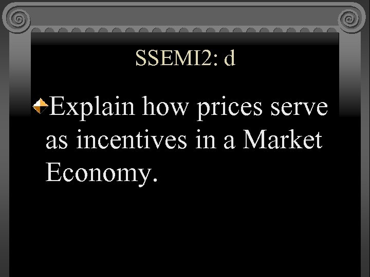 SSEMI 2: d Explain how prices serve as incentives in a Market Economy.
