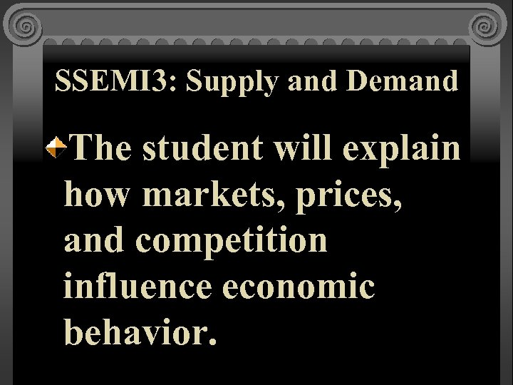 SSEMI 3: Supply and Demand The student will explain how markets, prices, and competition
