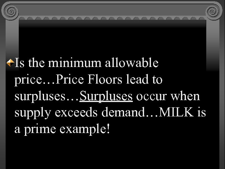 Is the minimum allowable price…Price Floors lead to surpluses…Surpluses occur when supply exceeds demand…MILK