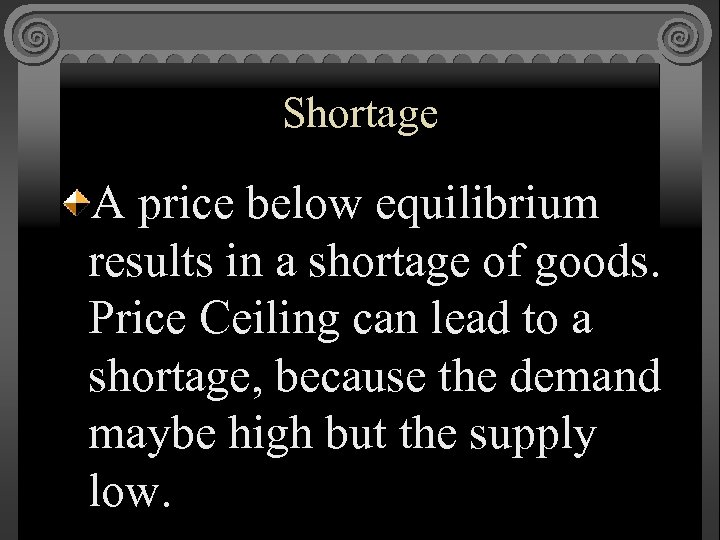 Shortage A price below equilibrium results in a shortage of goods. Price Ceiling can