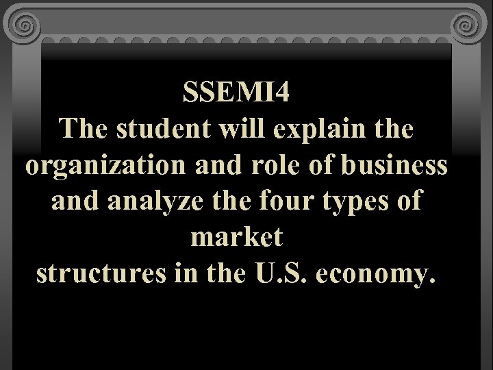 SSEMI 4 The student will explain the organization and role of business and analyze