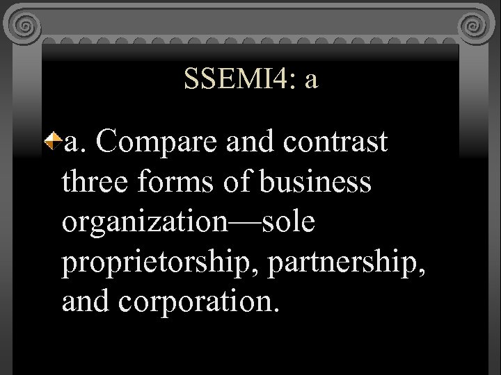 SSEMI 4: a a. Compare and contrast three forms of business organization—sole proprietorship, partnership,