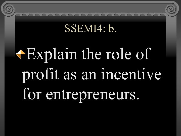 SSEMI 4: b. Explain the role of profit as an incentive for entrepreneurs.