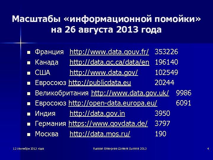 Масштабы «информационной помойки» на 26 августа 2013 года n n n n n Франция