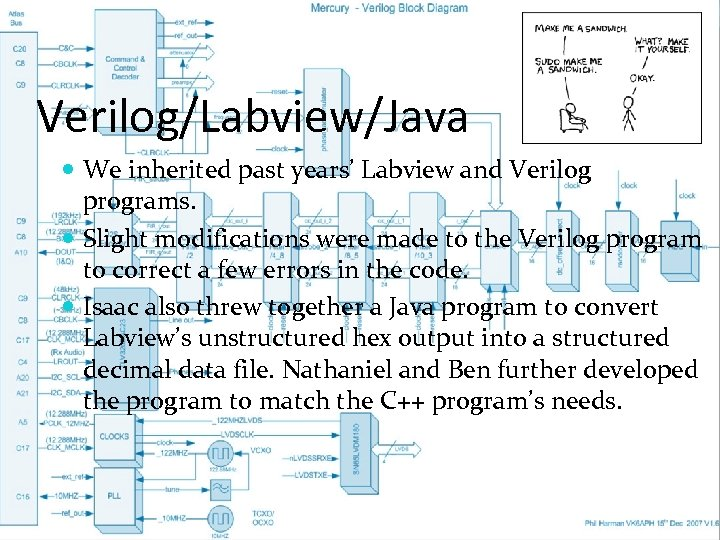 Verilog/Labview/Java We inherited past years' Labview and Verilog programs. Slight modifications were made to