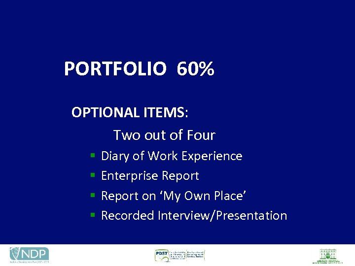 PORTFOLIO 60% OPTIONAL ITEMS: Two out of Four § § Diary of Work Experience