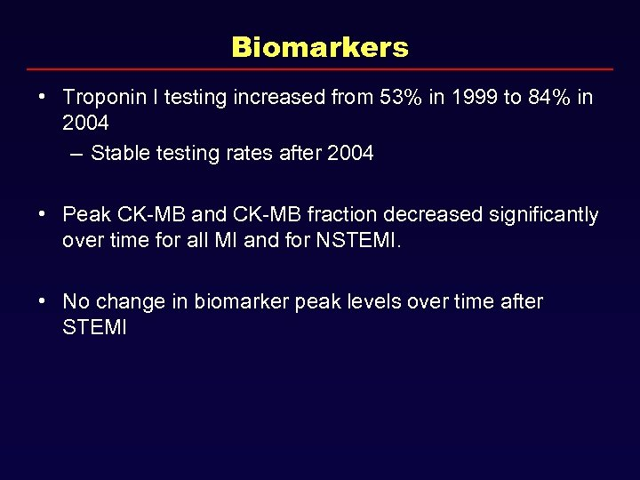 Biomarkers • Troponin I testing increased from 53% in 1999 to 84% in 2004