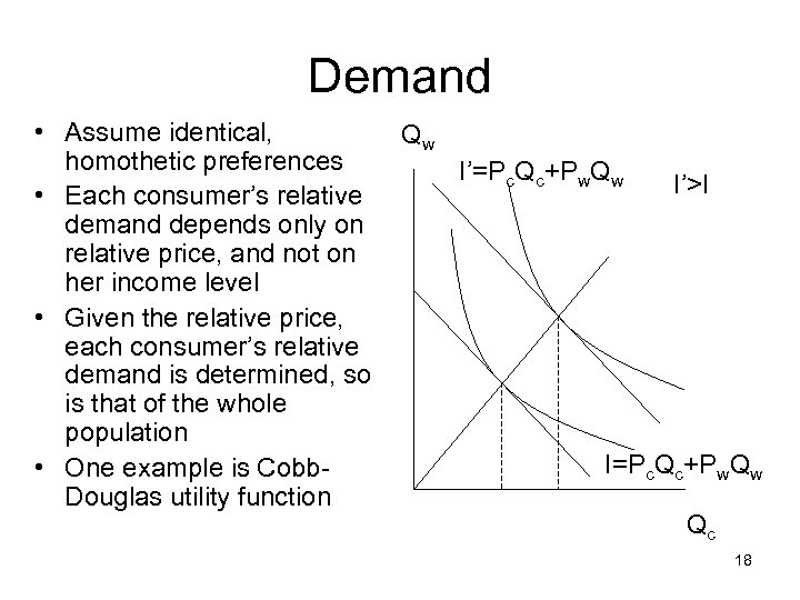 Demand • Assume identical, homothetic preferences • Each consumer's relative demand depends only on