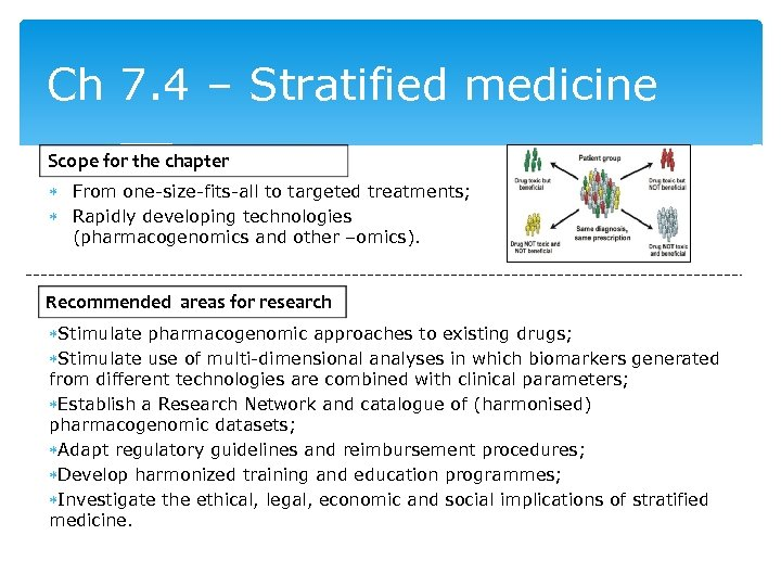 Ch 7. 4 – Stratified medicine Scope for the chapter From one-size-fits-all to targeted