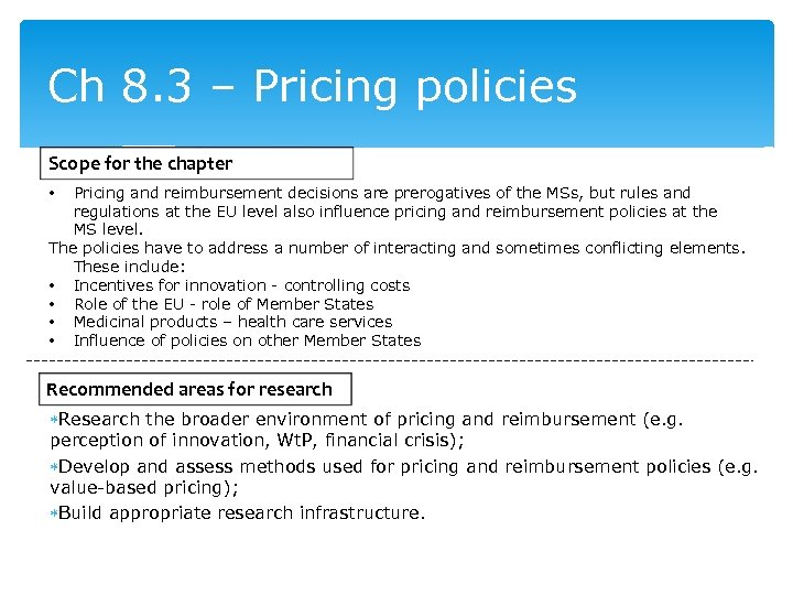 Ch 8. 3 – Pricing policies Scope for the chapter Pricing and reimbursement decisions