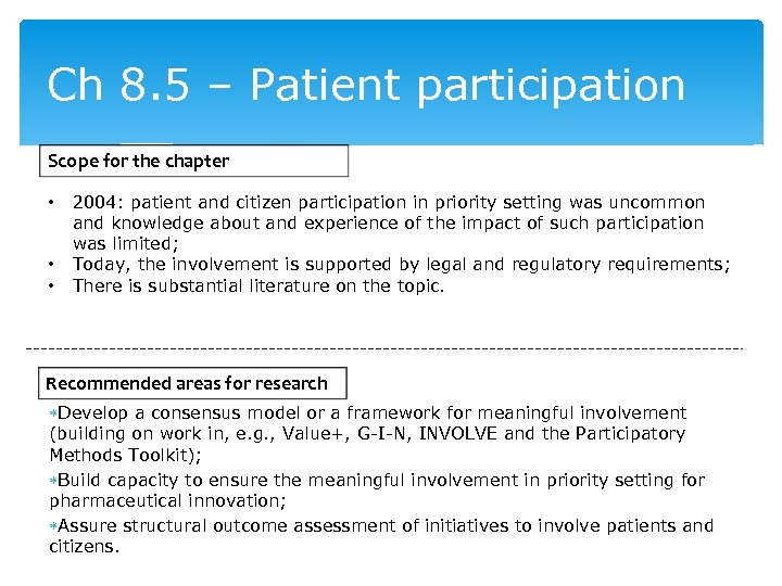 Ch 8. 5 – Patient participation Scope for the chapter • • • 2004: