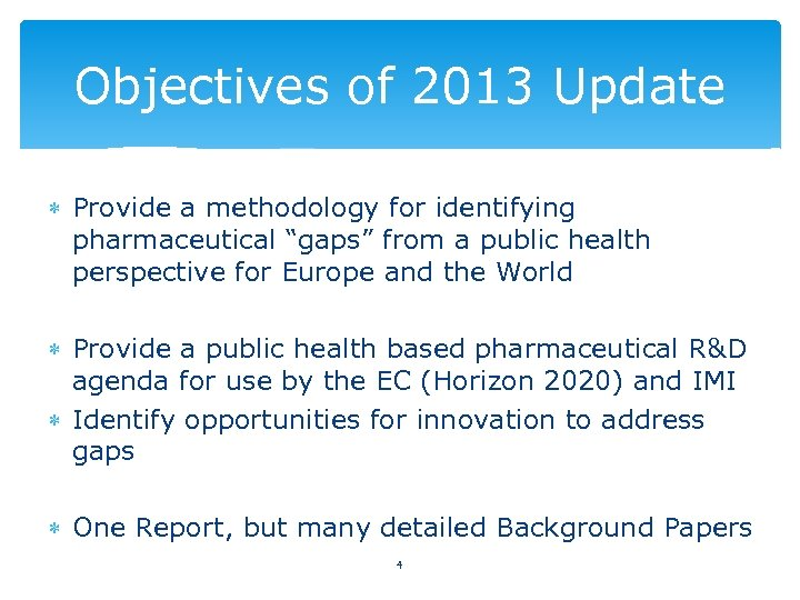 """Objectives of 2013 Update Provide a methodology for identifying pharmaceutical """"gaps"""" from a public"""