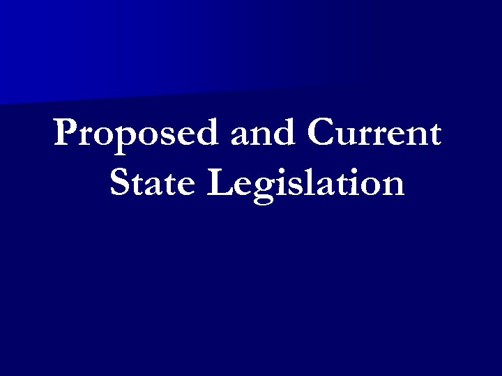 Proposed and Current State Legislation