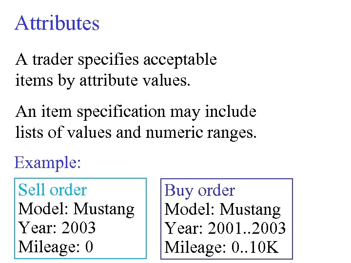 Attributes A trader specifies acceptable items by attribute values. An item specification may include