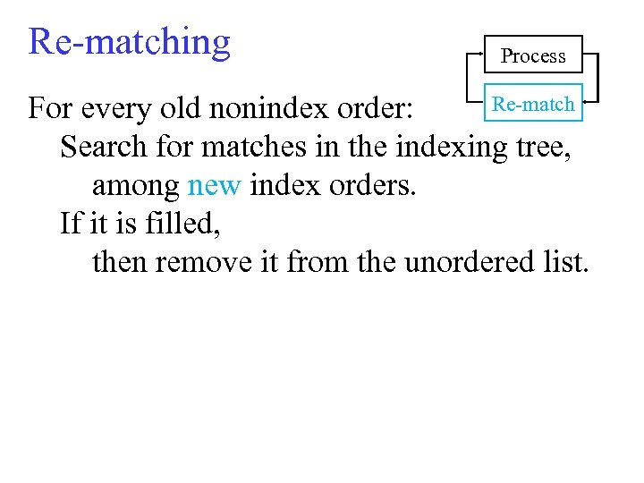 Re-matching Process Re-match For every old nonindex order: Search for matches in the indexing