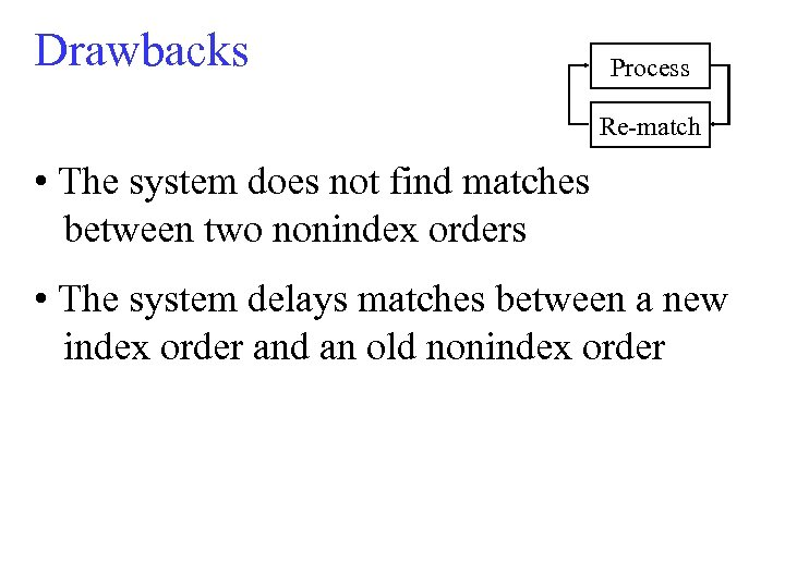 Drawbacks Process Re-match • The system does not find matches between two nonindex orders