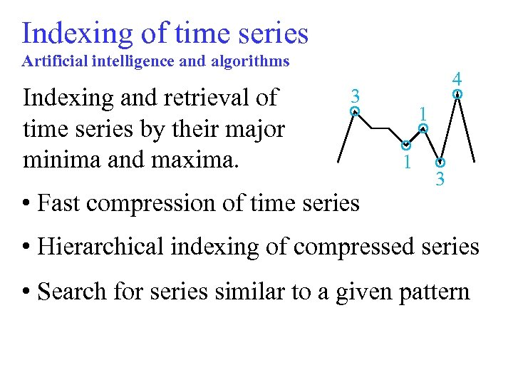 Indexing of time series Artificial intelligence and algorithms Indexing and retrieval of time series