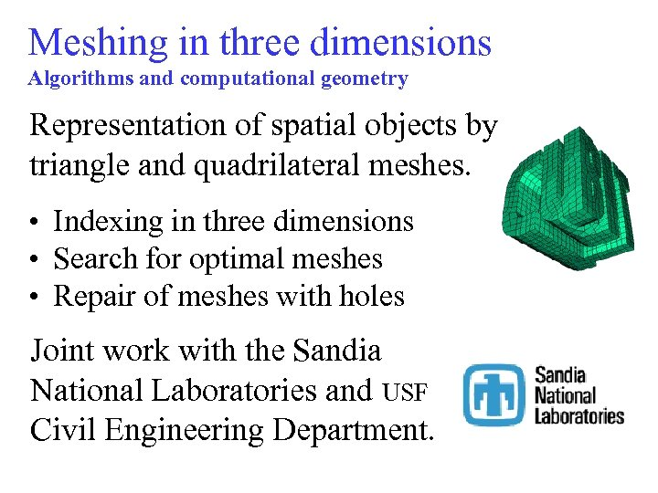 Meshing in three dimensions Algorithms and computational geometry Representation of spatial objects by triangle