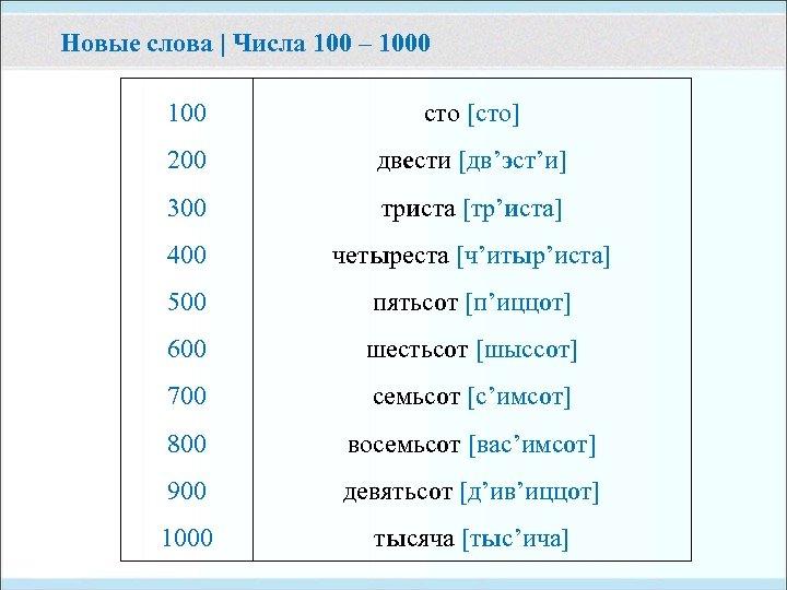 Новые слова | Числа 100 – 1000 100 сто [сто] 200 двести [дв'эст'и] 300